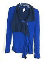 We the Free Women Size XS Royal Blue Jacket Ruffle Asymmetrical Free People 13K