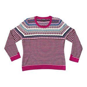 PER UNA Pink Knit Sweater Jumper 16 Knitwear Fair Isle Style Christmas Winter
