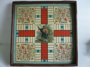 ANTIQUE MCLOUGHLIN BROS. N.Y. DOUBLE SIDED BOARD GAME PARCHEESI ? WOOD TRIM