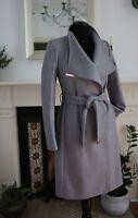 Ted Baker Sandra Wrap jacket Coat Grey long trench wool NEW 1 8 BNWT RRP £329