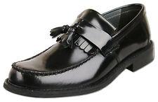 Mens New Black Leather Slip On Tassel Loafer Shoes Size 6 7 8 9 10 11 12