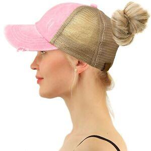 C.C Ponytail Criss Cross Messy Buns Ponycaps Baseball Trucker Cap Hat Baby Pink