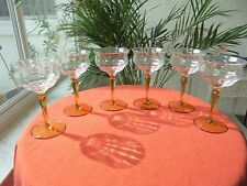 Set of 6 Tiffin Franciscan Stem # 15012 Amber Champagne Glasses c 1940's