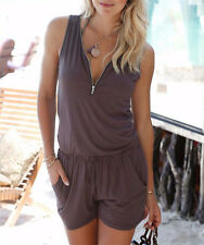 Summer Casual Women Rompers Fashion Solid Sleeveless V-Neck Women Clothing XXL