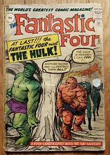 Fantastic Four 12, 1st Thing Vs Hulk. Low Grade, Tape On Spine. Complete
