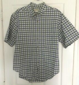 Men's LL Bean  Button-down  Shirt  Green Plaid  Large