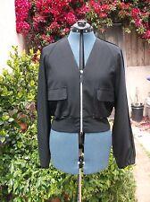 "Karl Lagerfeld KL black bomber jacket bolero fluid drapey Italy M 41""bust"