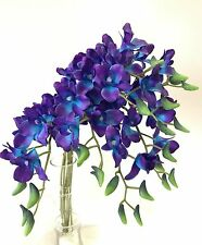 6X LATEX REAL TOUCH SINGAPORE BLUE PURPLE ORCHID DENDROBIUM ORCHIDS SILK FLOWERS
