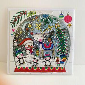 Rachel Ellen Kids Jigsaw Christmas Card Snow Globe Reindeer Penguins/XJIG43