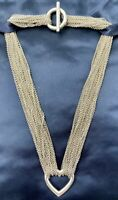 Tiffany & Co. Sterling Silver Multi Strand Chain Heart Pendant Toggle Necklace