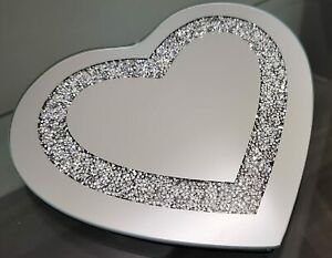 25cm CRUSHED CRYSTALS HEART SHAPE MIRROR CANDLE TRAY JEWELLED DIAMANTE HEART