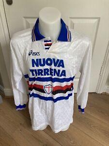 Rare Sampdoria Away Football Shirt 1995/96 Asics Large #10 Mancini Vintage