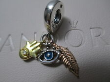 2020 New Pandora Hamsa All-seeing Eye Feather Spirituality 768785C01 Charm Gold