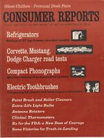 August  1966 Consumer Reports Magazine,  Corvette , Mustang , Phonographs