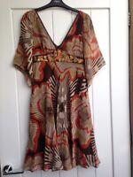 WOMENS KAREN MILLEN AUTUMN BROWN BEIGE ORANGE SILK DRESS UK 8