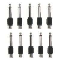 """10 Pcs RCA Female Jack To 6.35mm 1/4"""" Male Mono Plug Audio Adapter Connector"""