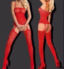 SEXY CROTCHLESS RED EROTIC BODYSTOCKING BODYSUIT SLEEPWEAR LINGERIE ONE SZ #3