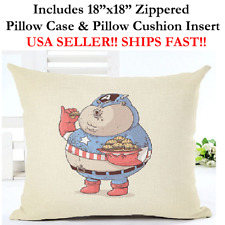 "18x18 18""x18"" 18in FAT CAPTAIN AMERICA SHIELD Pillow Case & Cushion Marvel DC"