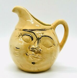 """Vtg Man In The Moon Face Yellow & Gold 5.5"""" Pitcher Creamer Signed ~ EUC"""