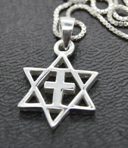 """Star of David with cross Pendant Jewish messianic necklace ISRAEL 925 silver 18"""""""