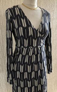 Boden 14 R Grey Cream Geometric LS Calf Length Stretchy Dress VGC