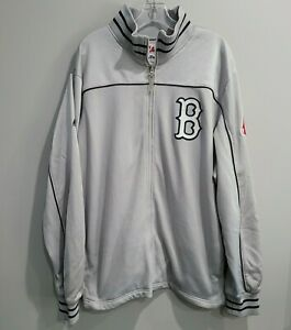 Majestic Authentic Boston Red Sox Silver  Zip Up Dugout Baseball Jacket Mens 2XL