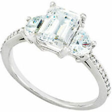 1.03 ct Emerald cut Diamond Engagement Wedding Half Moon Ring VS2