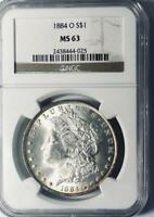 1884-O Morgan Silver Dollar - NGC  MS-63 - Mint State 63