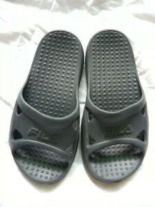 Youth Childs Fila Dark Grey Comfort Rockaway Slide on Sandal XS 12