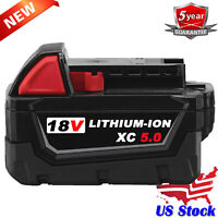 18V For Milwaukee 48-11-1850 M18 LITHIUM XC 5.0 Ah Battery 48-11-1840 Power Tool