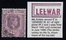 "Leeward Islands, SG 109ab, used (shortish perf) ""Broken E"" variety"