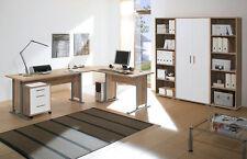 Arbeitszimmer Büroeinrichtung Büro komplett Set OFFICE LINE Eiche / weiß glanz