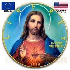 2018 1oz $1 American Silver Eagle Jesus Christ Colorized Coin Box Coa