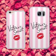 VICTORIA'S SECRET PINK STRIP KISS LIPS CUTE Phone Case Cover for iPhone Samsung