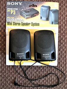 Vintage Sony SRS-P3 Mini Stereo Speaker System for Walkman - 3.5mm plug,  WORKS