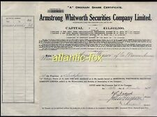 More details for 1929 armstrong whitworth co share certificate of 65 1/- shares