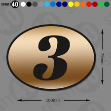 Oval Number Italic Sticker Vinyl Decal 2x100 x 75mm Classic Cafe Racer 2112-1119
