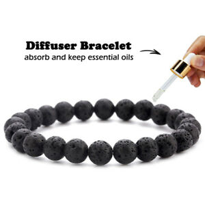 Men Women 8mm Natural Lava Stone Beads Diffuser Bracelet Jewelry Elastic Yoga