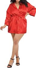 Dreamgirl Red Satin Slip & Robe Set Size 22 - 24 Nighty & Wrap Gown Sexy 3X 4X