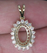 Oval Cut 9×12mm Solid 14Kt Yellow Gold Natural VS Diamond Semi Mount Pendant