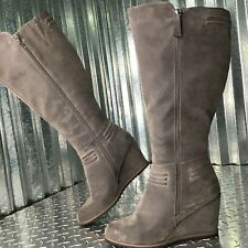 Nicole Women's Sage Green Vegan Comfort Wedge Zip Up Boots Shoe Size 8.5