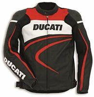 DUCATI Corse Motorbike / Motorcycle Leather Jacket Black - Red