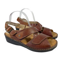 Finn Comfort Women's Brown Leather Adjustable Strap Sandals - Size 40 US 9 - 9.5