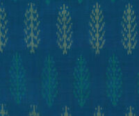 "Silk Cotton Blend Peacock Blue Green Ikat Hand Woven Soft Fabric 44"" Homespun"