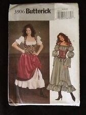Butterick 3906 Sewing Pattern Uncut Barmaid Gypsy Halloween Size 6,8,10
