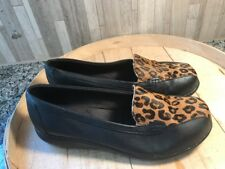 Clarks Bayou Black Leather & Leopard Haircalf Loafers Flats 8 WW