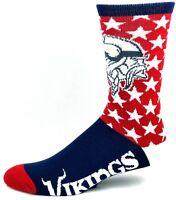 Minnesota Vikings For Bare Feet Red White and Blue Patriotic Stars Crew Socks