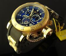 NEW INVICTA 18K GOLD PLATED S.S. LARGE 52MM SWISS RUSSIAN DIVER-BLUE SUNRAY DIAL