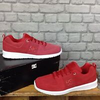 DC MENS UK 10 EU 44.5 RED SUEDE LYNX LITE TRAINERS RRP £75