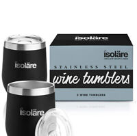 ISOLARE Wine Tumbler Stainless Steel 12 Oz Set Of 2 Keep UR Wine Cold Coffee Hot